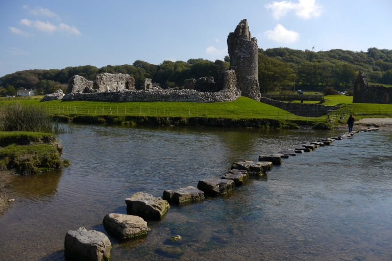 Stepping Stones at Ogmore Castle